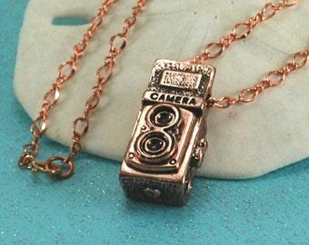 Copper Camera Necklace ~ Photographer Gift ~ Photography Necklace ~ Vintage Inspired Camera Necklace ~ Camera Lover ~ Shutter Bug