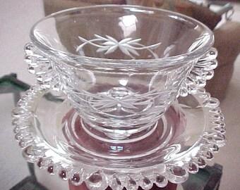 1940s Paden City Vermilion 3 Piece Mayo Set w/Gray Cutting, Vintage Crystal Serving Glassware, Elegant Mr. B Collectible Glass Dinnerware