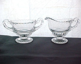 Vintage Cambridge Gadroon Crystal Individual Cream & Sugar, Elegant Depression Glassware Serving Coffee, Mid Century Clear Collectible Glass