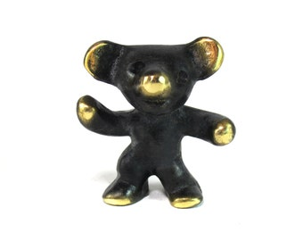 Walter Bosse Bear Figurine - Vintage Mid Century Original Austrian 1960s Brass Dancing Bear Figurine