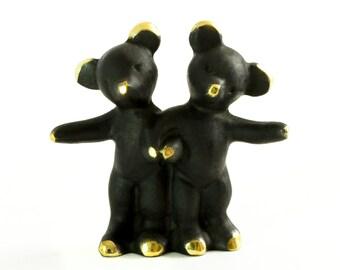 """Walter Bosse Bears - Brass """"Black Gold"""" Pair of Bears in Love Figurine — """"Bärenpaar"""""""