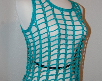 Crochet Tank Top Teal Cotton/Modal from Beech wood size x-small/small