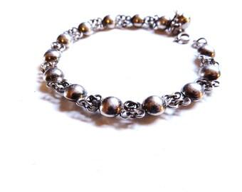 Sterling Silver Bracelet Vintage Charms Bead Ball Links Jingle Bell Minimalist Jewelry