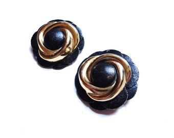 Vintage Shoe Clips Black Gold Leather Flowers Dress Clips 1960s Jewelry Accessories