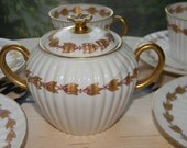 100 OFF Limoges French Demi Tea Set . Lanternier & Co. Fine  Handpainted Gold and White Porcelain Dishes..4 cups and saucer.one covered dish