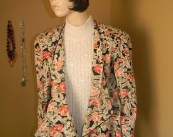 Carol Little Blazier .Dowton Abbey ..Victorian Tapestry Jacket .Edwardian BOHO Revival .Easter Jacket. Vintage Blazer LORAC Company