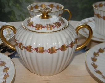 200 OFF Limoges French Demi Tea Set . Lanternier & Co. Fine  Handpainted Gold and White Porcelain Dishes..4 cups and saucer.one covered dish