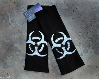 BIO-HAZARD Arm Warmer Sleeves Gloves Zombie Apocalyptic Goth Punk Silver Black Set Handmade