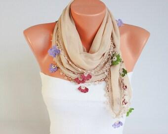 Beige ,Turkish scarf,Turkish oya scarf,hand crocheted  ,oya scarf , headband , gift for her