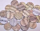 "Sheet Music Notes Set of 10 Buttons 1 Inch Pinback Buttons 1"" Pins or Magnets"