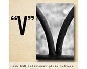 Letter V Alphabet Photography  BW 4x6 Letter Photo