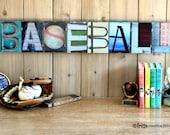 BASEBALL  Alphabet Photography 8 LETTER Word Plate (framed)
