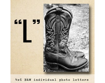 Letter L Alphabet Photography  BW 4x6 Photo Letter UNFRAMED, personalized architectural photos