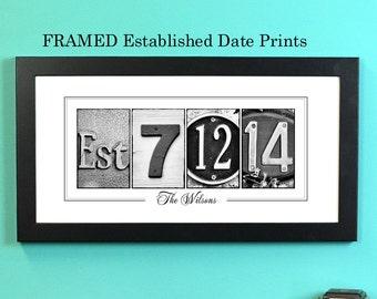 Personalized Established Date Prints, FRAMED alphabet photography, photo name art, wedding signage
