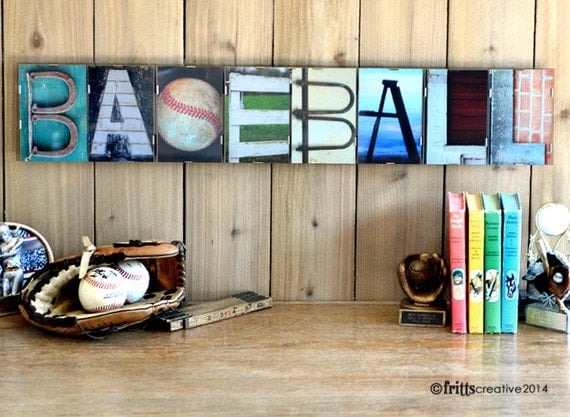 BASEBALL  Alphabet Photography 8 LETTER Word Plate (framed)