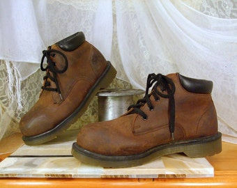 Vintage Dr Martens Brown Oiled Suede Steel Toe Industrial Work Boots  UK 6  USA  Mens 7 or  Womens 8  Made in England  Excellent Like New