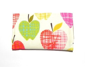 Business Card Holder - Apples in red, purple, pink, , blue, yellow, and green.