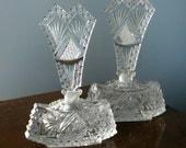 Large Pr. Art Deco Hand Cut Czechoslovakian Crystal Perfume Bottles 20s Antique
