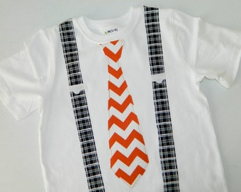Boy, baby, toddler, tween SHIRT with orange or red chevron tie and black and white plaid suspenders applique - size NB - 16