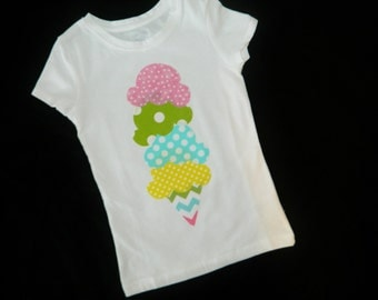 Ice Cream shirt - yellow, blue, lime green, pink polkadot applique icecream cone with spring chevron colors for baby, toddler, girl, tween