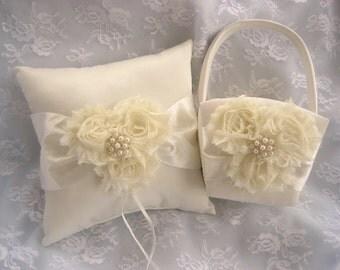 Ring Bearer Pillow, Flower Girl Basket  Vanilla Rose Blossom Ivory Ring Bearer Pillow, Flower Girl Basket Wedding Pillow
