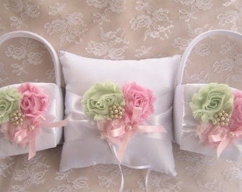 Two Flower Girl Baskets and Pillow -  Pink and Green Blossom Ivory Ring Bearer Pillow, Flower Girl Basket Vintage CUSTOM COLORS