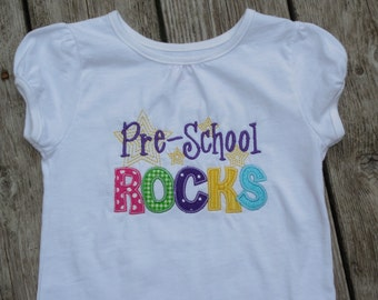Girl's Toddlers Personalized Pre-School ROCKS Shirt
