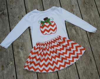 Girl's Toddlers Skirt and Shirt Personalized Outfit - Orange Chevron Skirt with Pumpkin Applique Shirt
