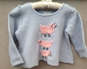 Girls Sky Blue Felted Cashmere Sweater, Soft Childrens Pullover Sweater with Whimsical Sheep Design, Fall & Winter Fashion, Kids Size 4 - 5