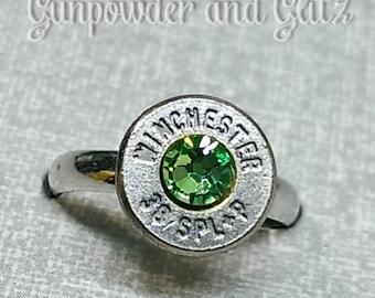 Simplistic Bullet Ring - Green Stone