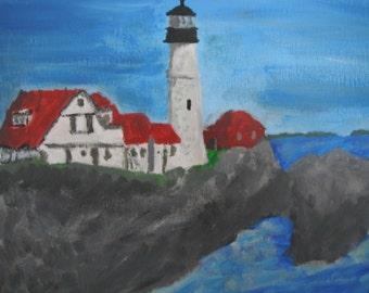 Portland Headlight - Maine / nautical / Seascape Painting - Lighthouse Painting - Original Acrylic 11x14