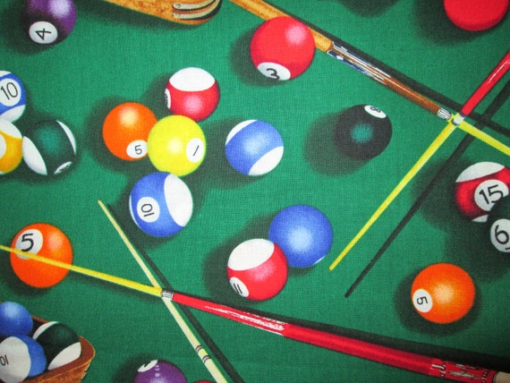 Pool Table Pool Balls Cotton Fabric FQ Or Custom Listing