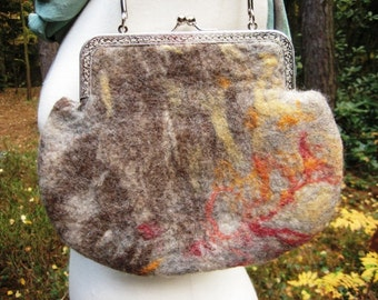 FELTED BAG Needle Wet Felted Handbag Warm Autumn Colors