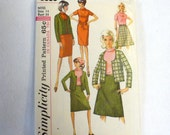 Vintage Sewing Pattern 1960s Misses Jacket Skirt Dress Blouse Size 14 Simplicity 6085
