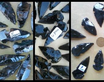 "OBSIDIAN ARROWHEADS 2 Piece-20 Bulk 2-1"" 4-8 gm Sea Salt Pendant Pendulum Tribal Shield Protect Clear Negativity Aura Feng Shui Black Stone"