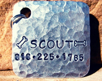 The Scout (#117) - Unique Pet ID Tag Silver Square Large Dogs