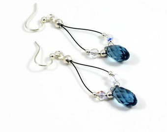 Blue and Sterling Silver Crystal Earrings - Beaded Jewelry - Teardrop Hoop Earrings - Long Dangle Earrings