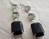 Black Earrings Black Diamond Swarovski Drop Earrings Old Hollywood Black Noir Bridal Jewelry Crystal Glamour Earrings Vintage Earrings