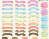 Pastel Ribbons Banners clipart - Personal and Commercial Use Clip Art- INSTANT DOWNLOAD