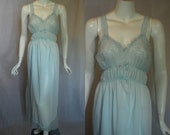 1950s Mojud Blue Nightgown, 34, Medium, Full Length, nylon lace