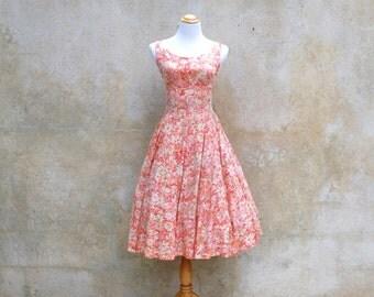 1950s vintage Jonathon Logan floral party dress- 50s summer watercolor full skirt cocktail dress - small