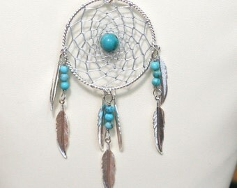 Dream Catcher Turquoise & Silver Dreamcatcher Necklace with Feathers large