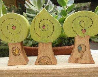 WOOD TREE  ACCESSORY-Whimsical-Bird-Hedgehog or Habitat-Story Dice- Waldorf Inspired