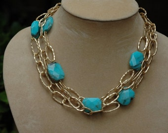 Bib Necklace, Layered Necklace, Multistrand Gold chain and Turquoise, gift for her, Summer necklace, Mother's day gift, short necklace