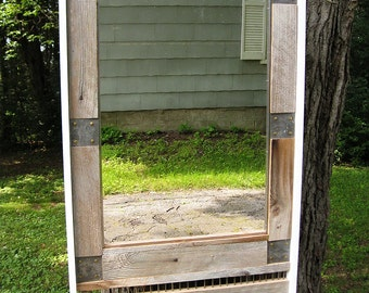 Custom made for David-Handmade Large Industrial Rustic Barnwood Mirror White Trim no.1401