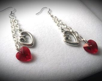 Open Heart & Swarovski Crystal Chain Earrings