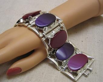 Fabulous Huge 1960s  Purple and Violet Lucite Bracelet