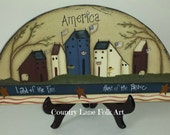 wooden half circle plaque, hand painted salt box houses, Americana decor, prim decor, sheep, sunflower, rusty stars, scofg