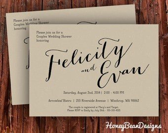 PRINTABLE Couples Wedding Shower Invitation Brown Rustic Vintage Simple Paper