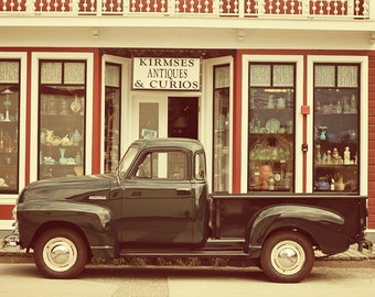 Skagway Alaska Antique Shop with Vintage Truck photograph retro style red green
